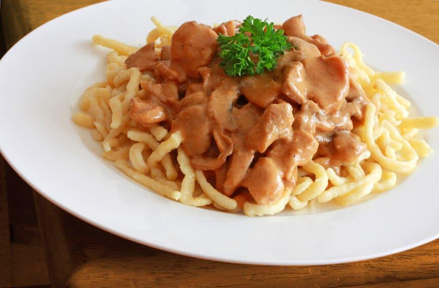 Perfect image of jaeger schnitzel